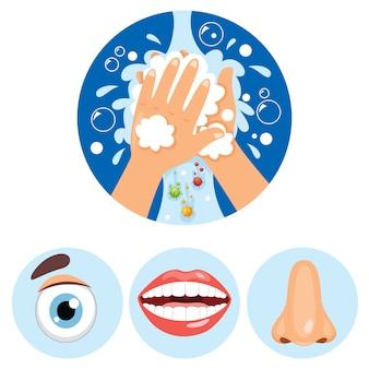 Concept de soins de santé avec le lavage des mains