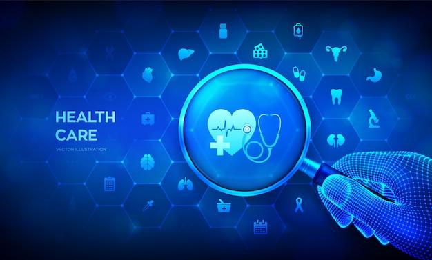 Concept de soins de santé et de services médicaux avec loupe en main filaire et icônes.