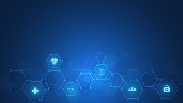 Concept de soins de santé et de technologie avec des icônes et des symboles plats. conception de modèle pour les entreprises de soins de santé, médecine de l'innovation, formation scientifique, recherche médicale.