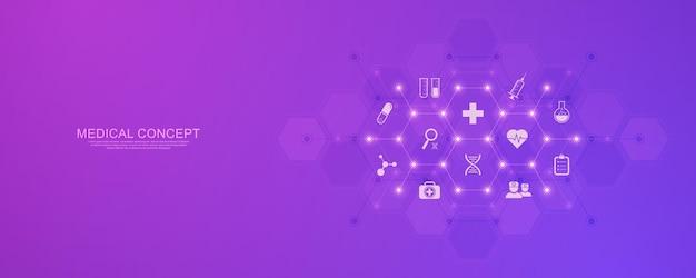Concept de soins de santé et de technologie avec des icônes et des symboles plats