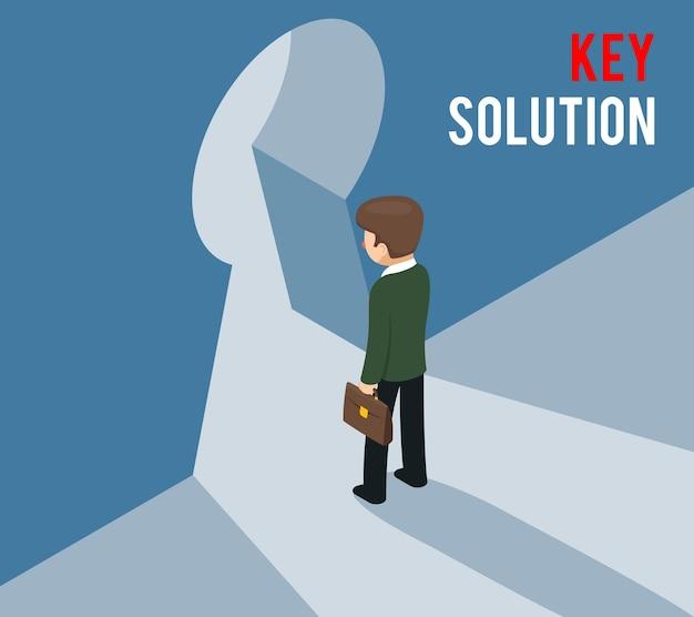 Concept de solution clé. homme d'affaires entrant dans le trou de la serrure. accès, entrée pour affaires. illustration