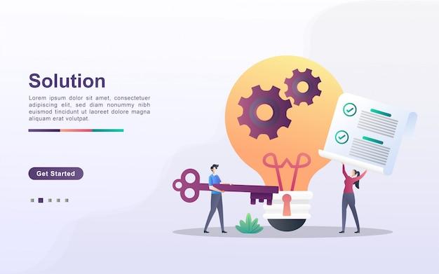 Concept de solution. les hommes et les femmes ont des solutions pour les entreprises. travailler ensemble pour résoudre le problème. trouvez des idées d'affaires.