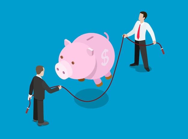 Concept de solution d'investissement de crédit financier plat isométrique