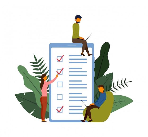Concept de sondage en ligne avec illustration du personnage