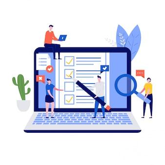 Concept de sondage en ligne avec des personnages, un ordinateur portable et un formulaire de questionnaire.
