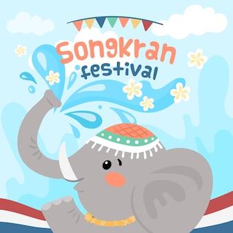 Concept de songkran dessiné à la main