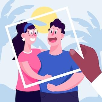 Concept de souvenirs personnels avec cadre polaroid
