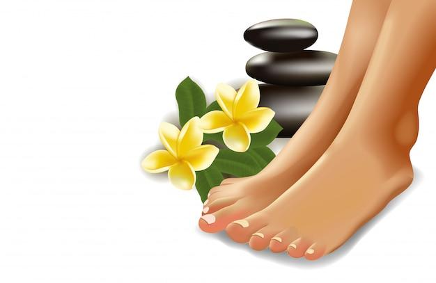 Concept de spa avec des pieds féminins réalistes, des frangipaniers et des pierres. illustration.