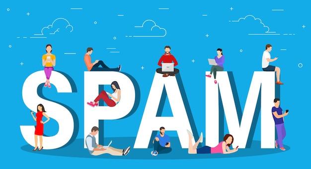 Concept de spam. hommes et femmes utilisant un ordinateur portable
