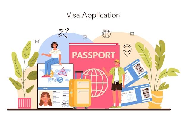 Concept de spécialiste du tourisme. agent de voyage vendant des circuits, des croisières, des voies aériennes