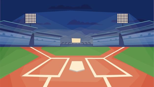Concept de stade de baseball dans un terrain de sport de conception de dessin animé plat avec des stands de spectateur de projecteurs de base ...