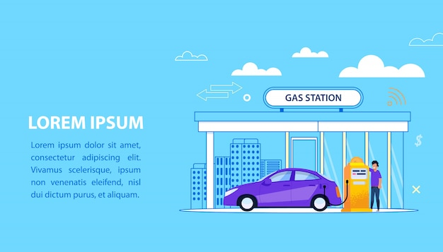 Concept de station d'essence. illustration du service de carburant de voiture