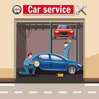 Concept de station-service automobile, style cartoon
