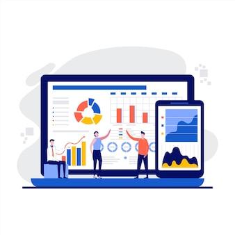 Concept de statistiques de base de données avec caractère.