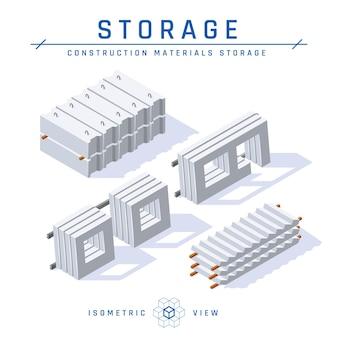 Concept de stockage en béton, vue isométrique