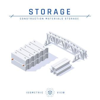 Concept de stockage en béton, vue isométrique.