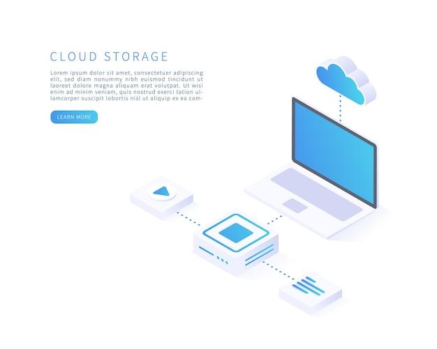 Concept de stockage en nuage en illustration vectorielle isométrique service ou application numérique avec transfert de données base de données de serveur numérique et service de cloud computing illustration vectorielle