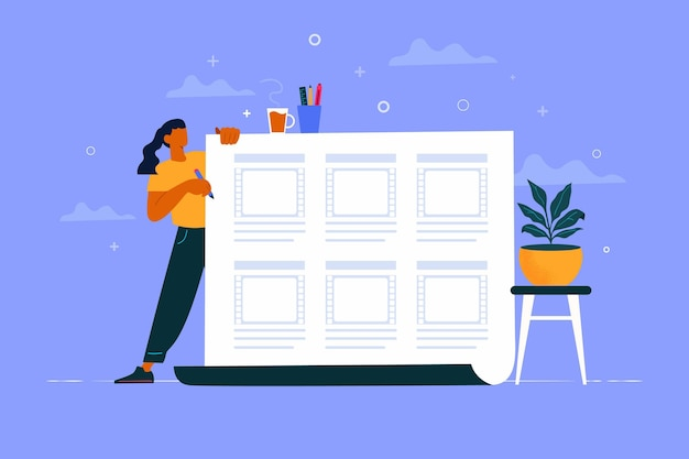 Concept de storyboard illustré avec femme travaillant
