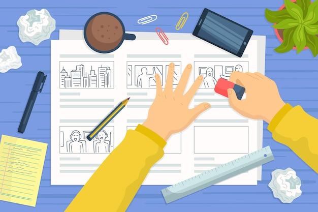 Concept de storyboard avec smartphone et café