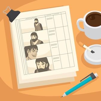 Concept de storyboard vue de dessus avec des scènes dessinées
