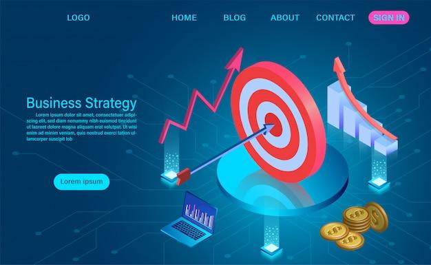 Concept de stratégie d'entreprise. analyse de données et stratégie de croissance ou concept d'objectif financier. illustration isométrique