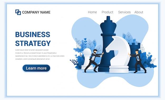 Concept de stratégie d'entreprise avec deux hommes d'affaires déplaçant des pièces d'échecs géantes.