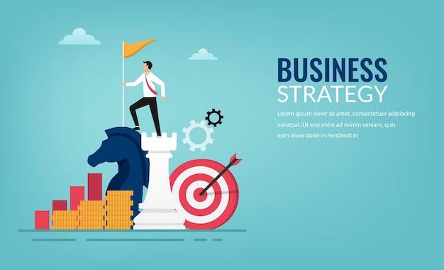 Concept de stratégie d'entreprise et de planification. homme d'affaires prospère debout sur l'illustration de pièces d'échecs.