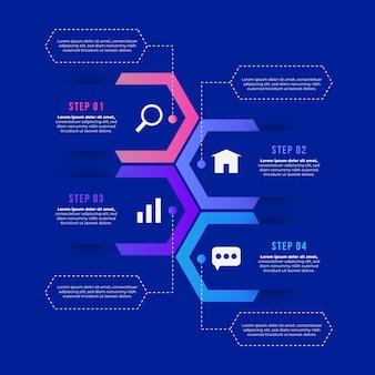 Concept de stratégie infographique étapes
