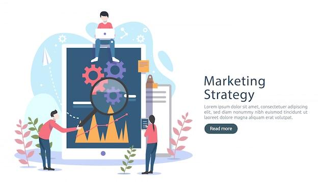 Concept de stratégie marketing numérique avec personnage de petites personnes, tableau, graphique sur écran d'ordinateur