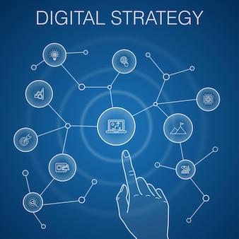 Concept de stratégie numérique, fond bleu. internet, référencement, marketing de contenu, icônes de mission