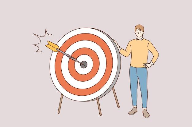 Concept De Stratégie Et Objectif Marketing Vecteur Premium