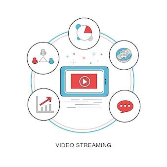 Concept de streaming vidéo dans un style de ligne mince et plat