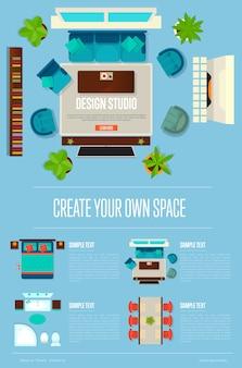 Concept de studio de design avec appartement vue de dessus