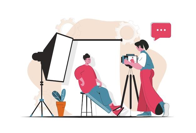 Concept de studio photo isolé. le photographe fait une séance photo pour poser un modèle homme. scène de personnes en dessin animé plat. illustration vectorielle pour les blogs, site web, application mobile, matériel promotionnel.