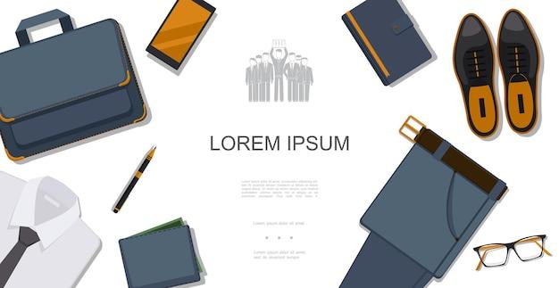 Concept de style homme d'affaires plat avec chemise porte-documents téléphone bloc-notes chaussures en cuir pantalon lunettes portefeuille stylo illustration,