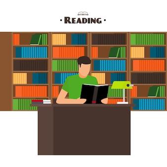 Concept de style plat de livres de lecture. l'homme s'assoit et lit votre livre préféré