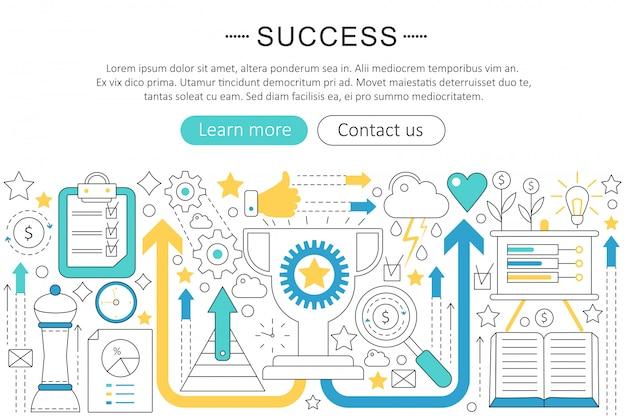 Concept de succès de ligne plate
