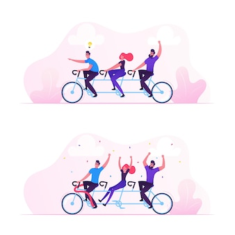 Concept de succès de travail d'équipe. illustration plate de dessin animé