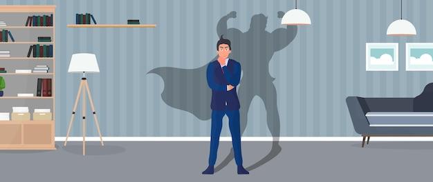 Concept de super homme d'affaires.