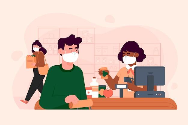 Concept de supermarché coronavirus