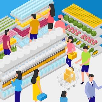 Concept de supermarché isométrique