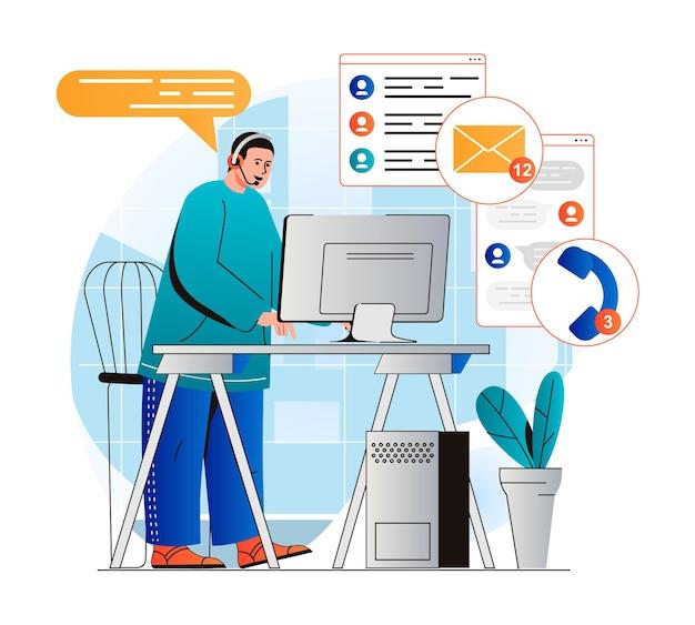 Concept de support client dans un design plat moderne l'opérateur travaille à l'ordinateur répond
