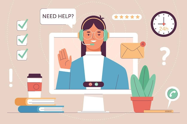 Concept de support client design plat illustré