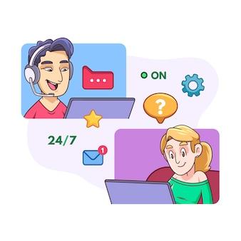 Concept de support client illustré