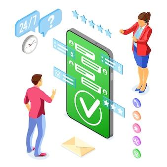 Concept de support client isométrique en ligne. centre d'appels mobile avec consultant féminin, casque, évaluation, icônes de chat. isolé