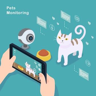 Concept de surveillance des animaux de compagnie design plat 3d isométrique
