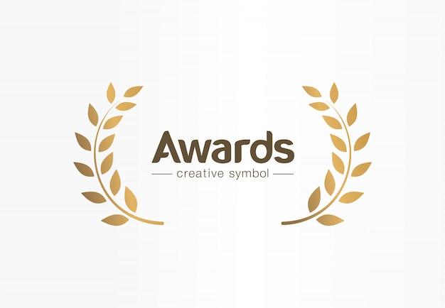 Concept de symbole créatif de couronne de laurier d'or. prix, victoire, gagnant, idée de logo d'entreprise abstraite de succès. trophée, branche, icône de bordure de feuille.