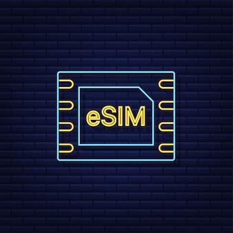 Concept de symbole d'icône de carte sim intégrée esim nouvelle technologie de communication cellulaire mobile à puce