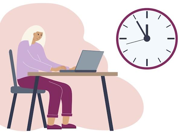 Concept de synchronisation dans le travail ou la formation. illustration d'une femme dans un espace de travail avec un ordinateur portable