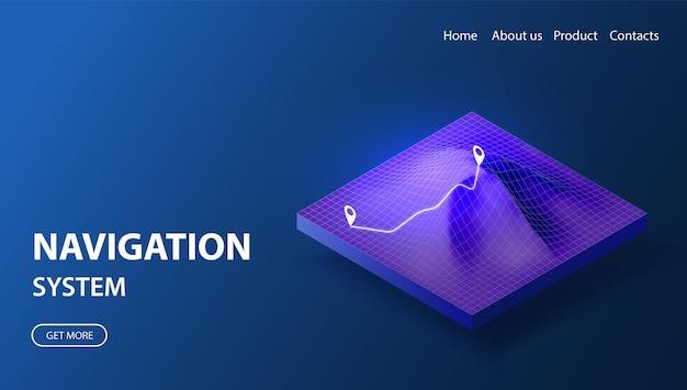 Concept de système de navigation illustration isométrique de la technologie gps carte de topologie filaire